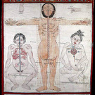 V0036134 Three anatomical figures from Tibet