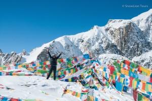 Молитвенные флажки на вершине перевала Долма ла